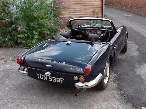 Triumph Spitfire MkIII (dark blue bodywork, rear-right view)
