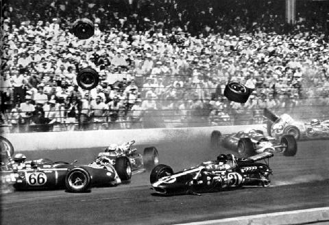 1966 indy 500 dan gurney in middle of first lap mayhem picture gallery motorbase. Black Bedroom Furniture Sets. Home Design Ideas
