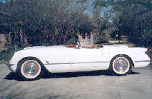 Chevrelot Corvette Convertible Side View White (1954)