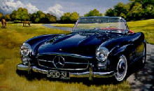 Mercedes Benz 300 SL Roadster Front view Painting  (1956)