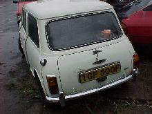 Austin Mini Mk2 (White bodywork, rear view)