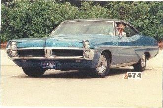 1967 Pontiac Catalina 2+2428 cubic inches 376 HorsepowerAutomatic, 1 of 1768 made.Color Tyrol Blue. Bucket Seats, ConsoleA street screamer in its time due to high torque & great weight distribut