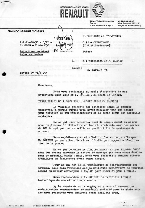rnault s letter resuming issues april 74 fahrzeugbau picture
