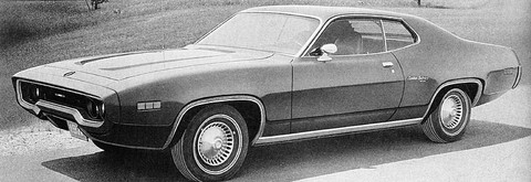 1971 Plymouth Satellite Sebring Sport Coupe f3q B&W