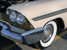1958 Plymouth Fury w-350 CID Golden Commando Engine Fender & Wheel Cover Buckskin Beige (WPC Cruise-In) CL