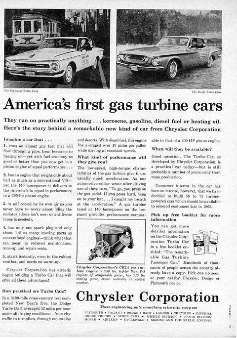 1962 Chrysler Turbine Advertisement, Plymouth Turbo Fury & Dodge Turbo Dart BW