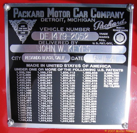 1941 Packard 160 Model 1903 Conv Coupe - ID plate