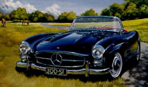 Mercedes Benz 300 Sl Roadster Front View Painting 1956