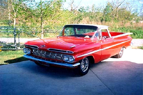 Chevrolet Elcamino Red White Front View(1959)