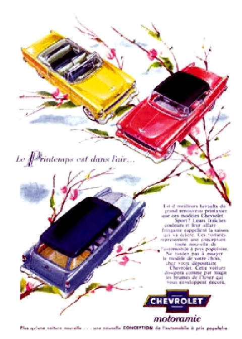 Chevrolet 3cars Frcdn Advert Mmod  (1955)