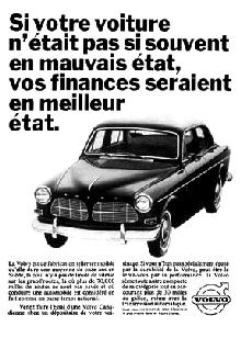 Volvo 122s Sedan B/W Frcdn Advert (1966)