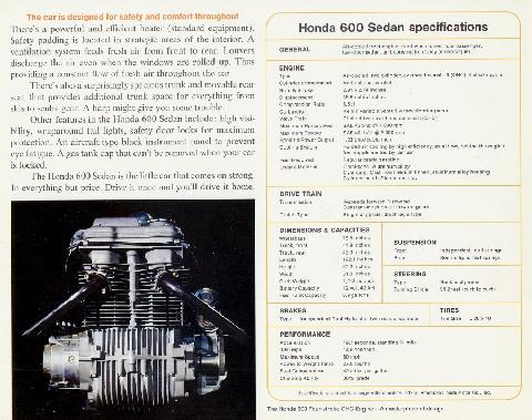 Honda 600 Brochure Back Over (1967)