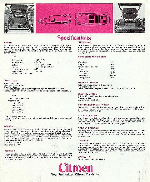 Citroen 4dr Station Wagon Specs (1971)