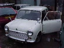 Austin Mini Mk2 (White bodywork, front view, rough condition)