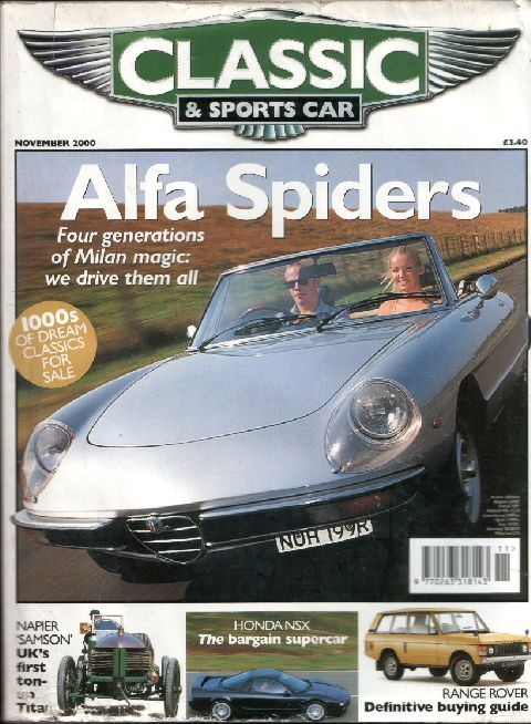 Classic & Sports Car November 2000 cover