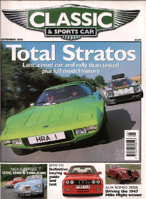 Classic & Sports Car September 2000 cover