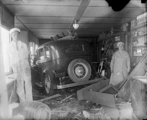 1932 Ford versus store back