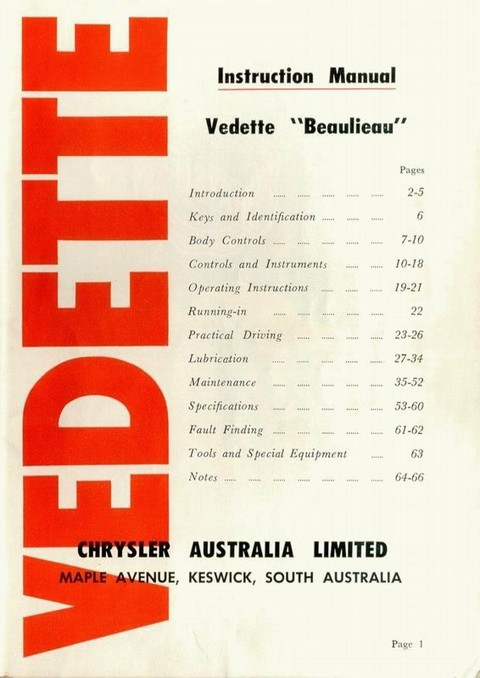 1959 Simca Vedette (AUS Instruction Manual) 02 ron