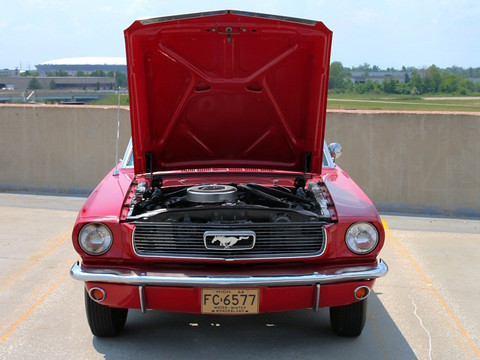 1966 Ford Mustang Convertible with 6-Cylinder Engine Signal Flare Red fv 1 (2006 WW@WD DCTC) CL
