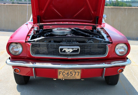 1966 Ford Mustang Convertible with 6-Cylinder Engine Signal Flare Red fv 2 (2006 WW@WD DCTC) CL