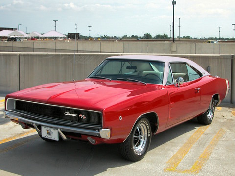 1968 Dodge Charger R-T with Styled Steel Wheels & White Vinyl Top Bright Red fvl (2005 WW@WD DCTC) N