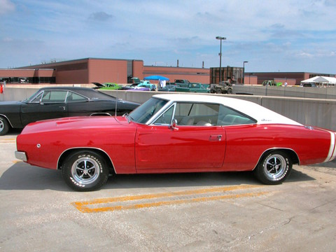 1968 Dodge Charger R T With White Vinyl Top Bright Red Sv