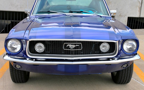 1968 Ford Mustang GT Fasback w-Custom Wheels Grille & Fog Light Detail Acapulco Blue Poly (2006 WW@WD DCTC) CL