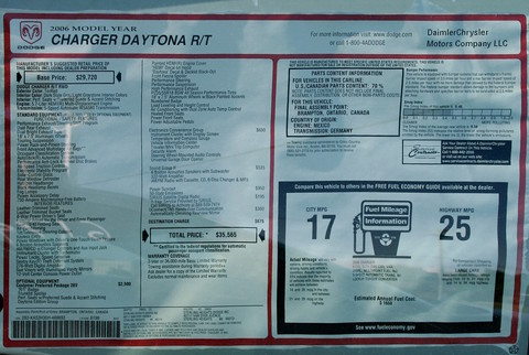Sterling Heights Dodge >> 2006 Dodge Charger 5 7l Hemi R T Daytona Monroney Label Tor