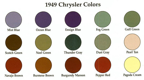 1949 Chrysler Color Chart
